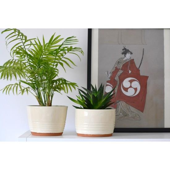 Ghiveci ceramică mască - Alb, 18 x 12 cm