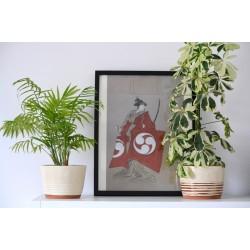 Ghiveci ceramică mască, Alb - Teracota, 18 x 13 cm