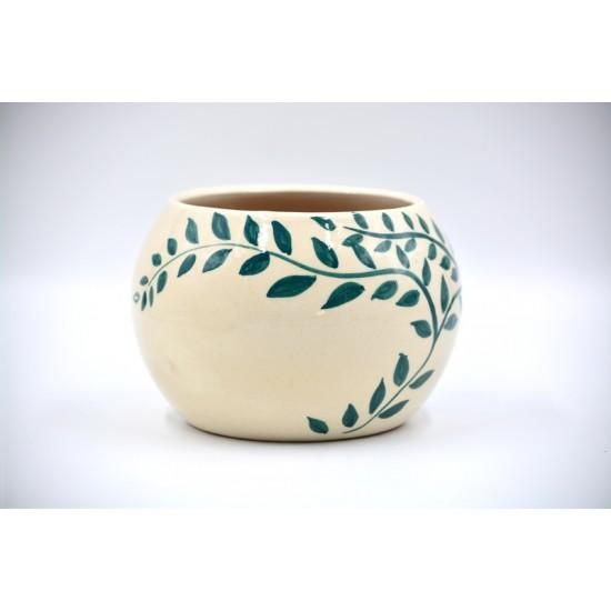 Ghiveci ceramică mască - Frunze 12 x 11 cm