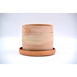 Ghiveci ceramică cu gaură și farfurie - Teracota, 13 X 11 cm