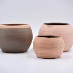 Ghivece mască ceramică Teracota - Roz (set 3)