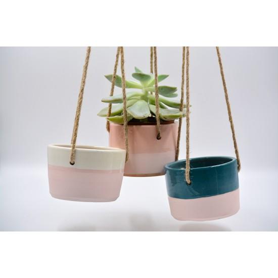 Ghivece ceramică suspendate (set 3), 12 x 9 cm