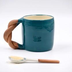 Cană ceramică Blue Lagoon - Răsucită, 300 ml