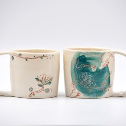Cană ceramică Flori de piersic, 200 ml