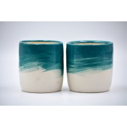 Pahare ceramică - Blue Lagoon (set 2), 300 ml
