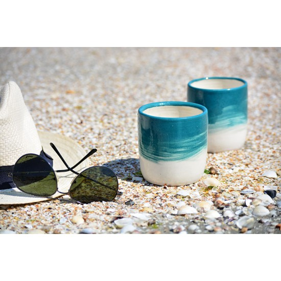 Pahare ceramică - Blue Lagoon (set 2), 300 ml