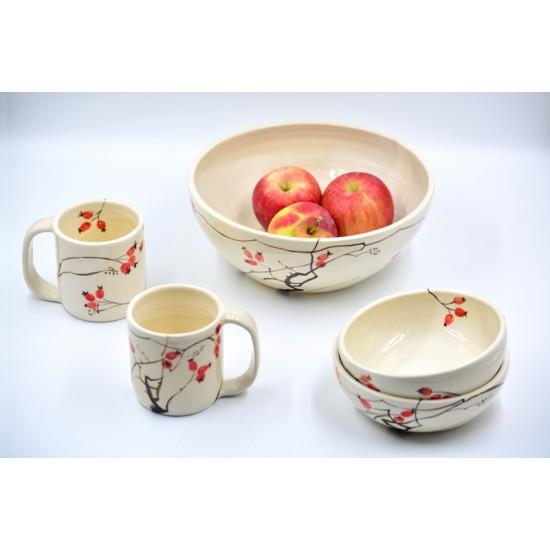 Bol ceramică pentru supă - Măceșe, 15 cm