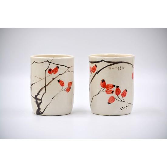 Pahar ceramică - Măceșe, 300 ml