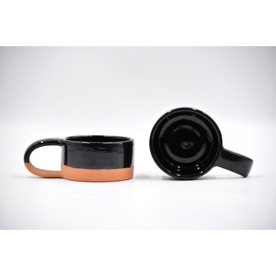 Ceașcă ceramică Negru-Teracota, 170 ml
