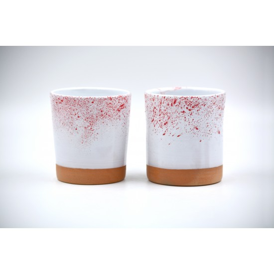 Pahar ceramică Alb - Roşu  - 350 ml