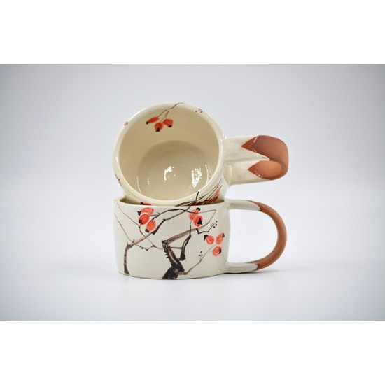 Cești ceramică - Măceșe (set 2), 170 ml