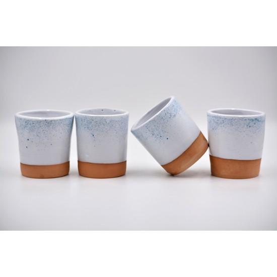 Pahar ceramică Alb - Turquoise, 350 ml