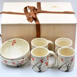 Coş cadou - Set Ceramică Măceşe