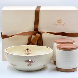 Coş cadou - Set Ceramică Alb