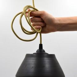 Abajur ceramică neagră - Lampă suspendată, 18x8 cm