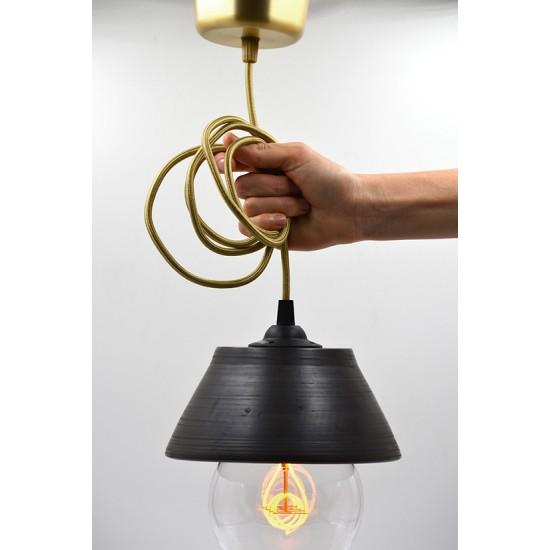 Lampă suspendată - abajur ceramică neagră, 18x8 cm