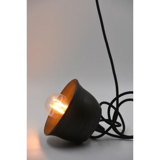 Lampă suspendată - abajur ceramică neagră, 15x9 cm