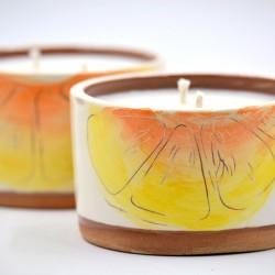 Lumânare parfumată cu suport ceramică - Citrus Bliss (mix de citrice), 33 h