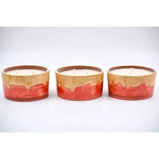 Lumânare parfumată cu suport ceramică - Summer Taste (Cireșe, mere, piersici), 33 h