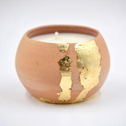 Lumânare parfumată cu suport ceramică - Gold Vanilla (Vanilie), 33 h