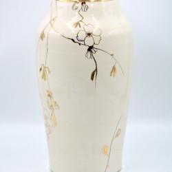 Vază ceramică Alb - Aur - Flori, 31 cm