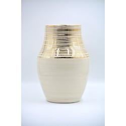 Vază ceramică Alb - Aur - Linii, 26 cm