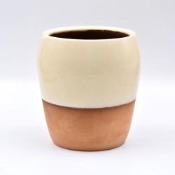 Vază ceramică Alb - Teracota, 16 cm
