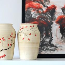 Vază ceramică - Măceşe, 28 cm